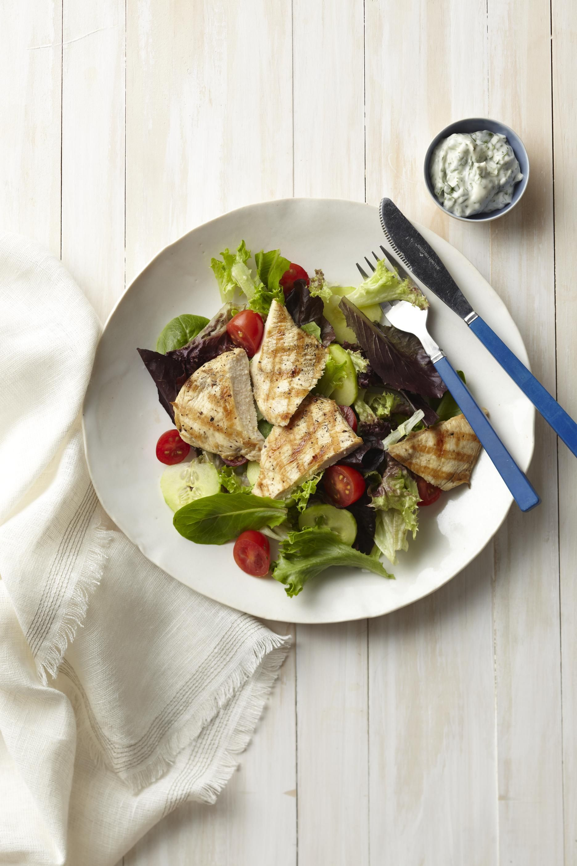 Grilled Chicken Cutlet with Basil-Tarragon Aioli #myplate #salad