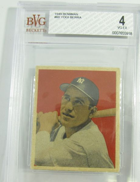"""Lot 2 in the 9.21.13 online & live auction! Vintage 1949 Yogi Berra #60 Bowman Baseball Card graded by Beckett Card Service (BVG) as 4 Very Good to Extra Fine. A tough / rare card to locate in the series. From Internet: """"Lawrence (Larry) Peter """"Yogi"""" Berra (born May 12, 1925) is an American former Major League Baseball catcher, outfielder, and manager. He played almost his entire 19-year baseball career (1946–1965) for the New York Yankees. #MLB #Sports #Homerun #POGAuctions"""