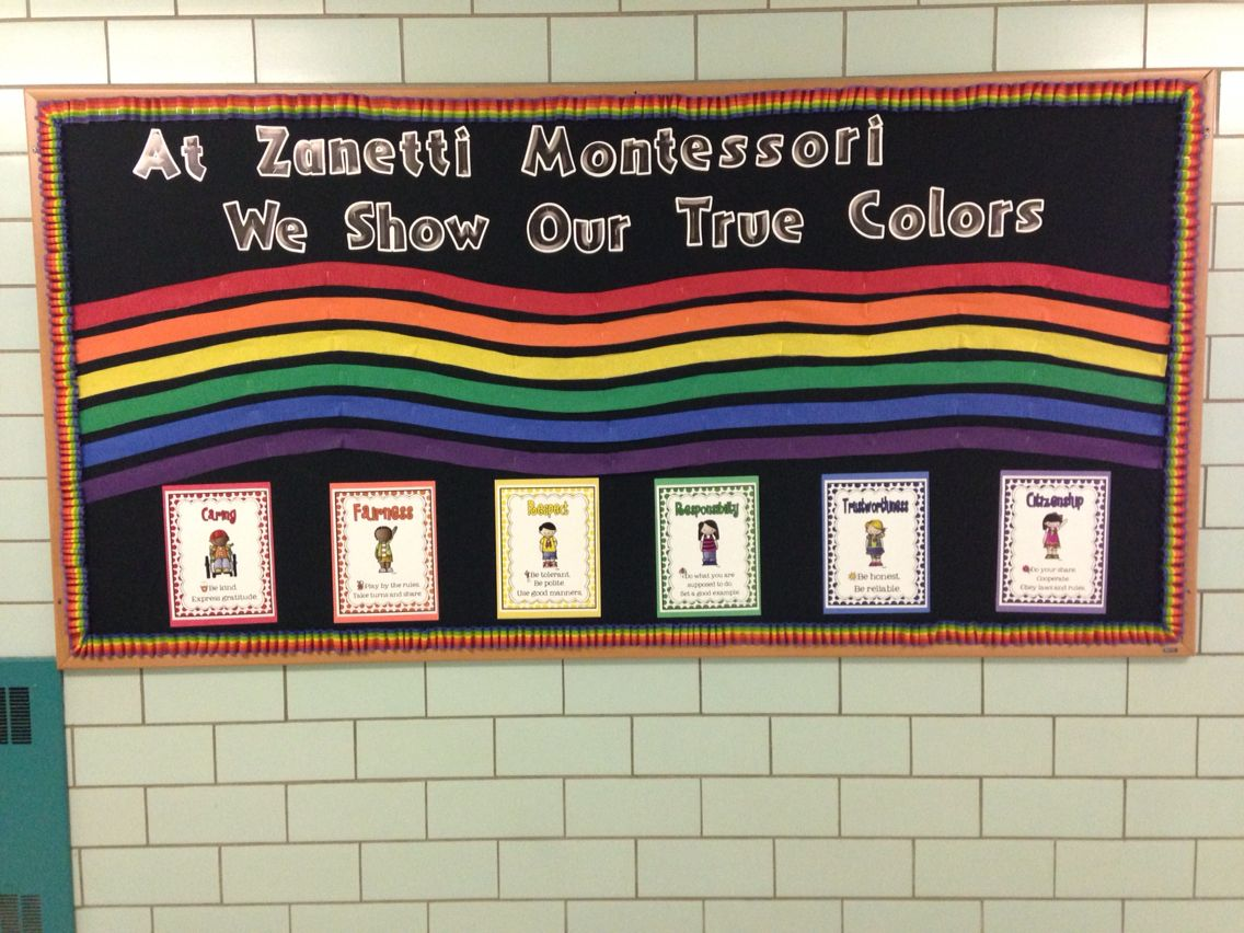 Six Pillars Of Character Bulletin Board Crepe Paper Streamers In Each Color And Rainbow Ruffled