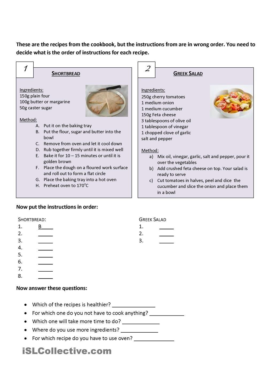 Recipes Comparision Reading Comprehension Worksheets Comprehension Worksheets Math Addition Worksheets [ 1440 x 1018 Pixel ]