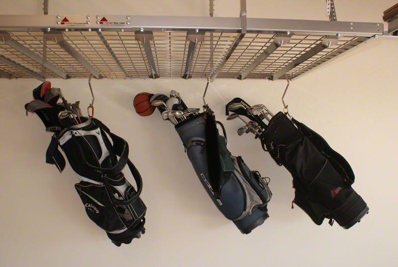 Golf Bag Storage On Overhead Ceiling Garage Rack Garage Storage Racks Golf Bags Garage Racking
