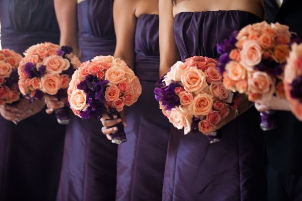 Bridesmaids In Purple With Peach Bouquets Wedding Colors Purple