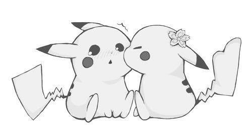 Pikachu Kiss Cute Cartoon Drawings Pikachu Drawing Cute Sketches
