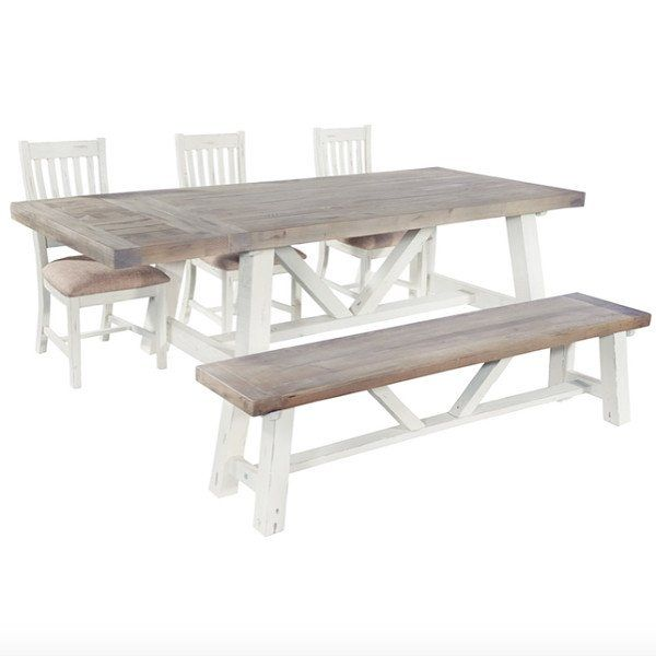 Dorset Purbeck Reclaimed Wood Extendable Trestle Table Chairs And Bench Set