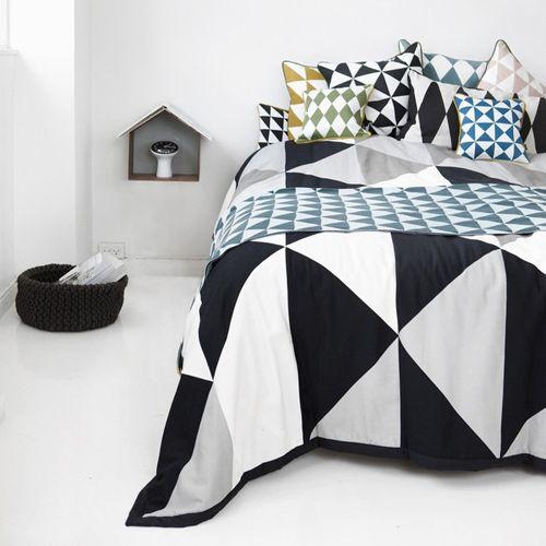 couvre lit coton bio Couvre lit en coton biologique Remix Ferm Living avec motif  couvre lit coton bio
