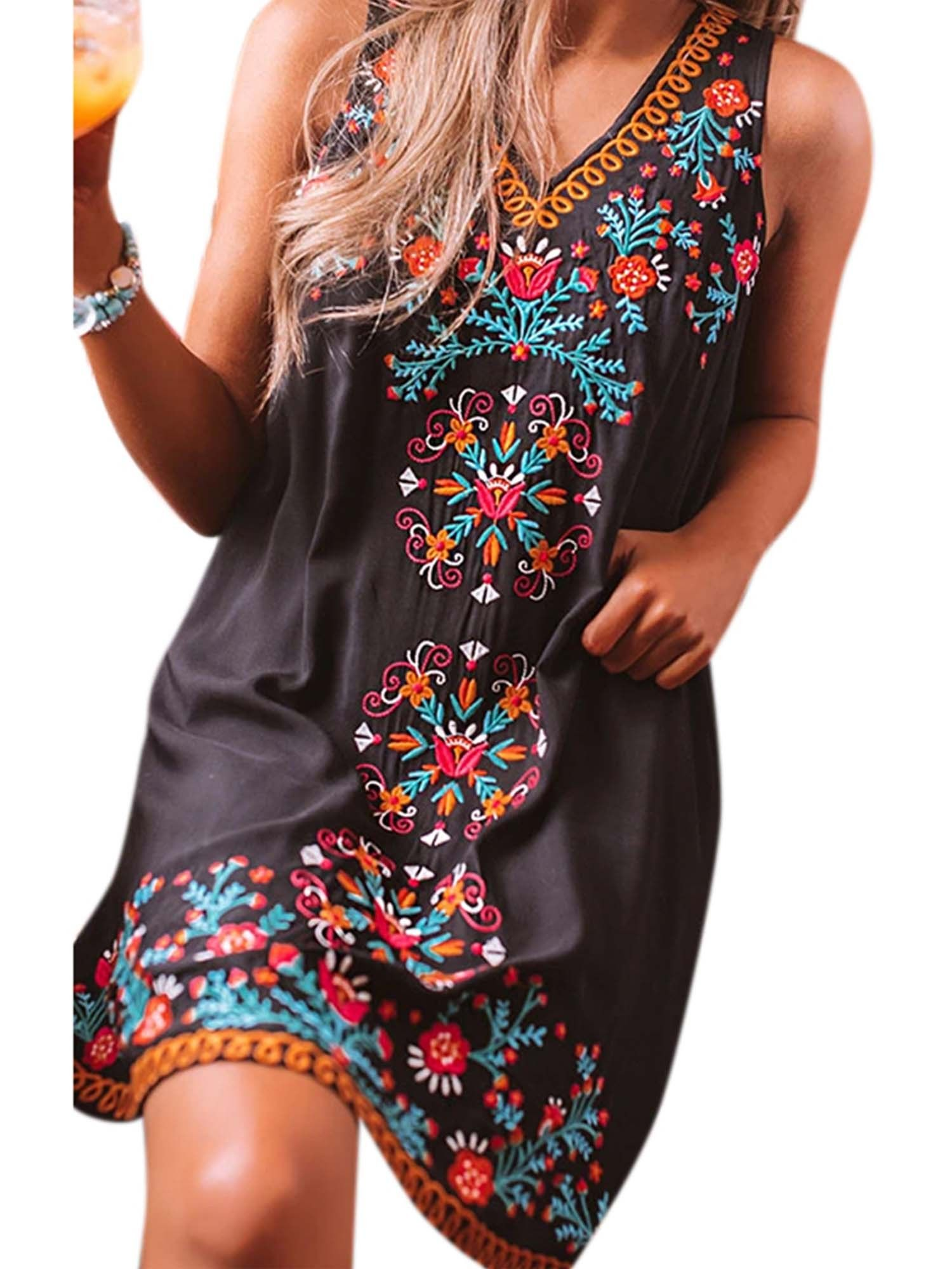 Wodstyle Women S Summer Boho Mini Dress Casual Loose Sleeveless V Neck Floral Sundress Walmart Com Mini Dress Casual Boho Mini Dress Essential Dress [ 2000 x 1500 Pixel ]