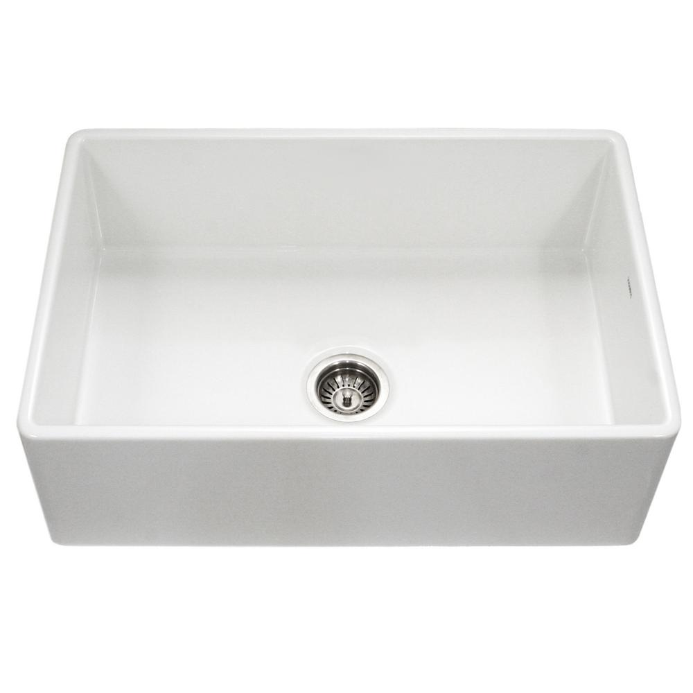 Houzer Platus Series Farmhouse Apron Front Fireclay 33 In Single Bowl Kitchen Sink In White Ptg 4300 Wh Apron Sink Kitchen Single Bowl Kitchen Sink Farmhouse Sink Kitchen