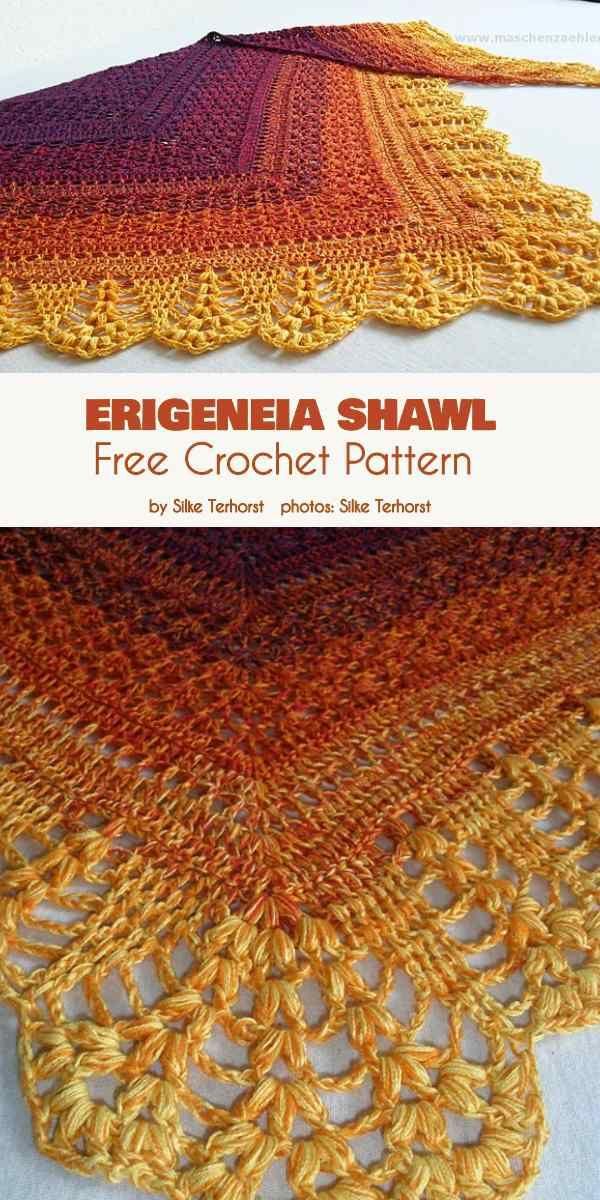 Erigeneia Shawl Free Crochet Pattern #shawlcrochetpattern