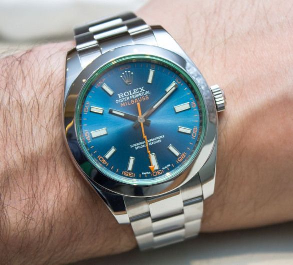 Rolex Milgauss Z Blue Dial 116400GV Watch Hands On hands on