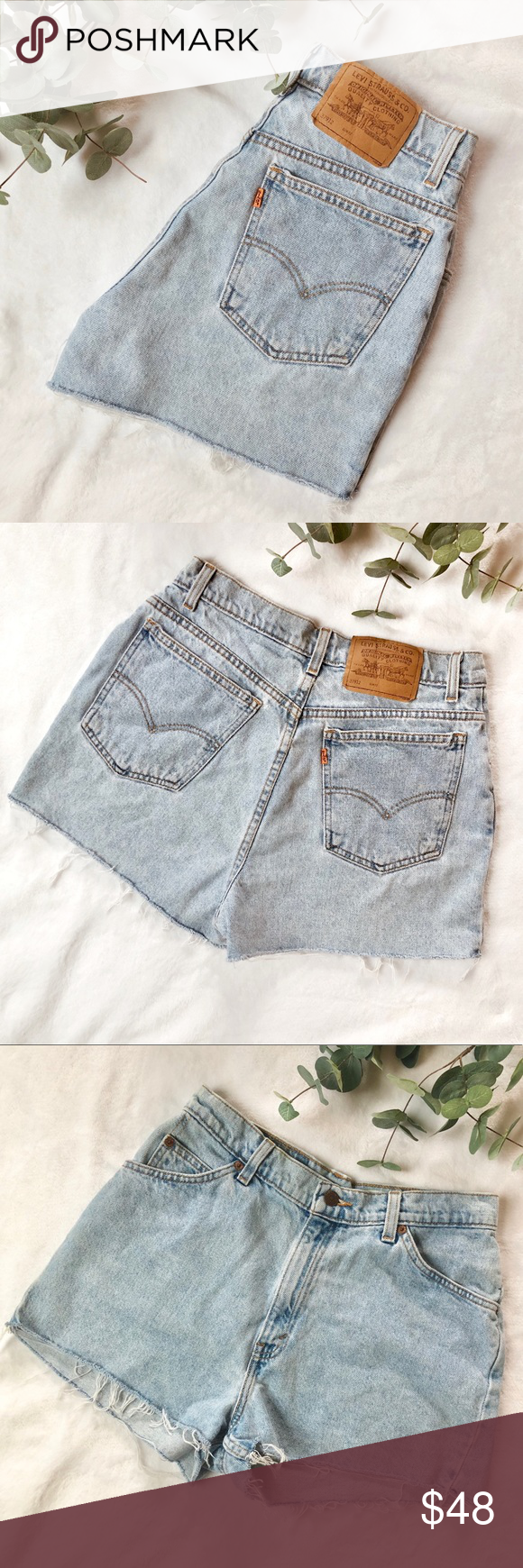 "Levi's • orange tab vintage denim cutoff shorts Levi's vintage orange tab high waist denim cutoff shorts. Light wash.   Size: 13 (read measurements for accurate sizing)  Excellent condition!   Measurements (layed flat) Waist: 14.5"" Rise: 12"" Levi's Shorts Jean Shorts #denimcutoffshorts"