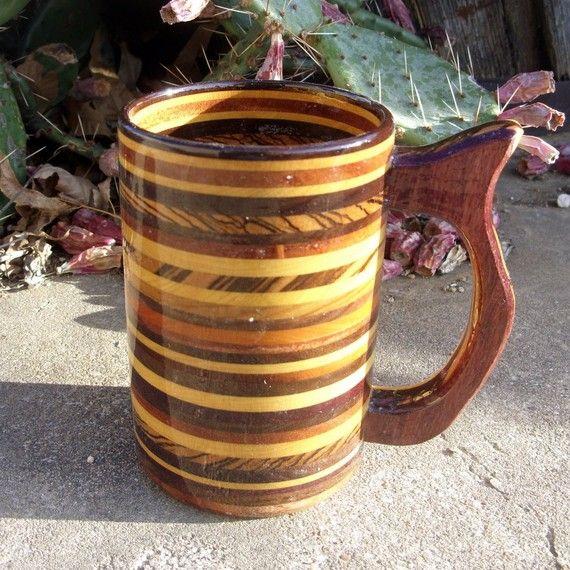 Handcrafted Striped Wood Mug 20 Oz Ooak Beer Stein Beer Mug