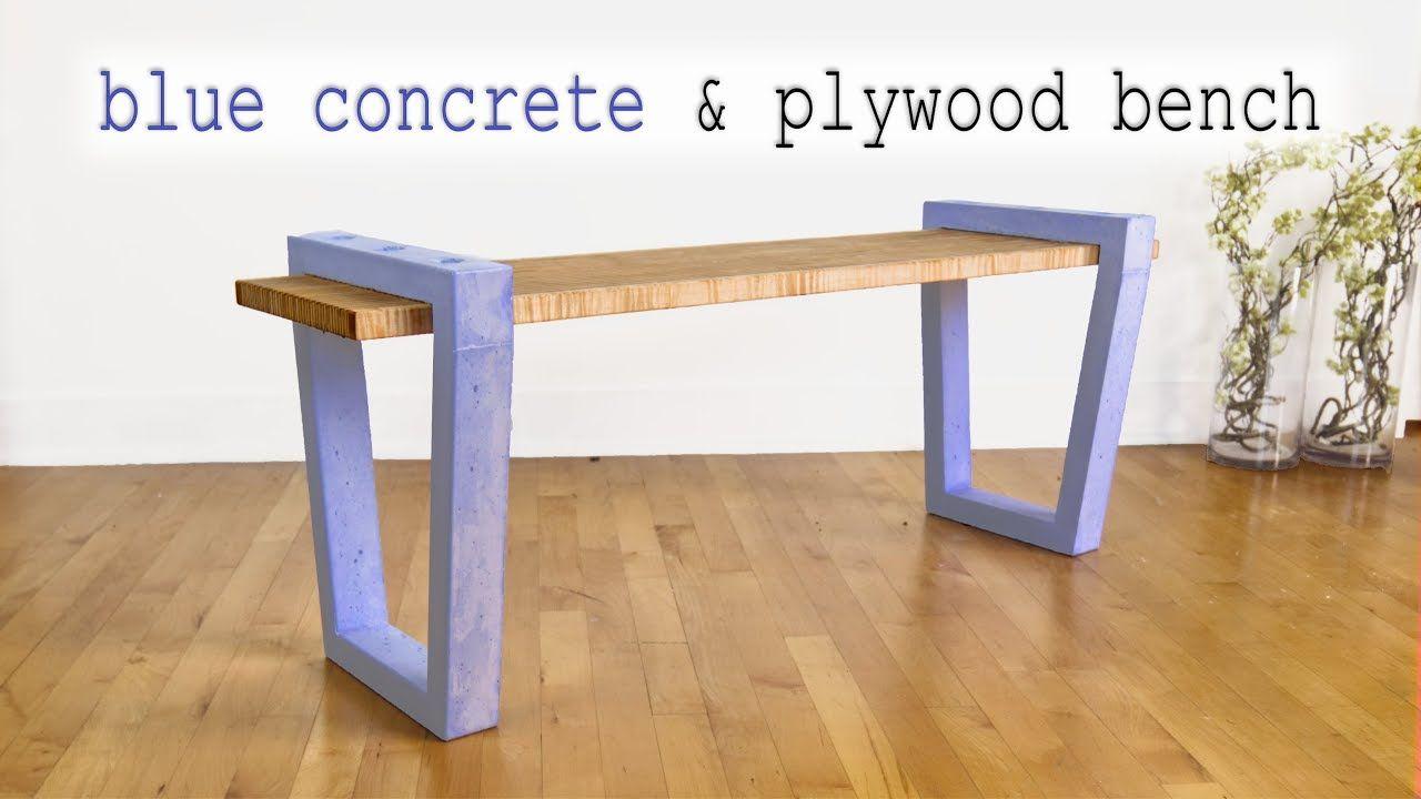 Diy blue concrete plywood bench how to make gfrc