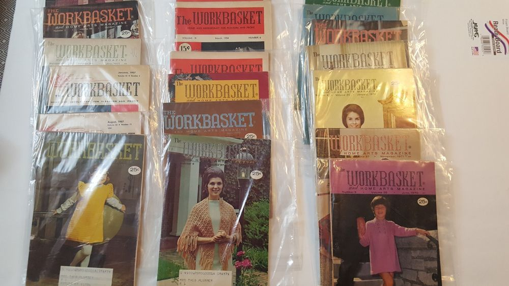 Workbasket Magazine Back Issues, Lot of 19 from 1950s, 1960s 1970s Arts Crafts