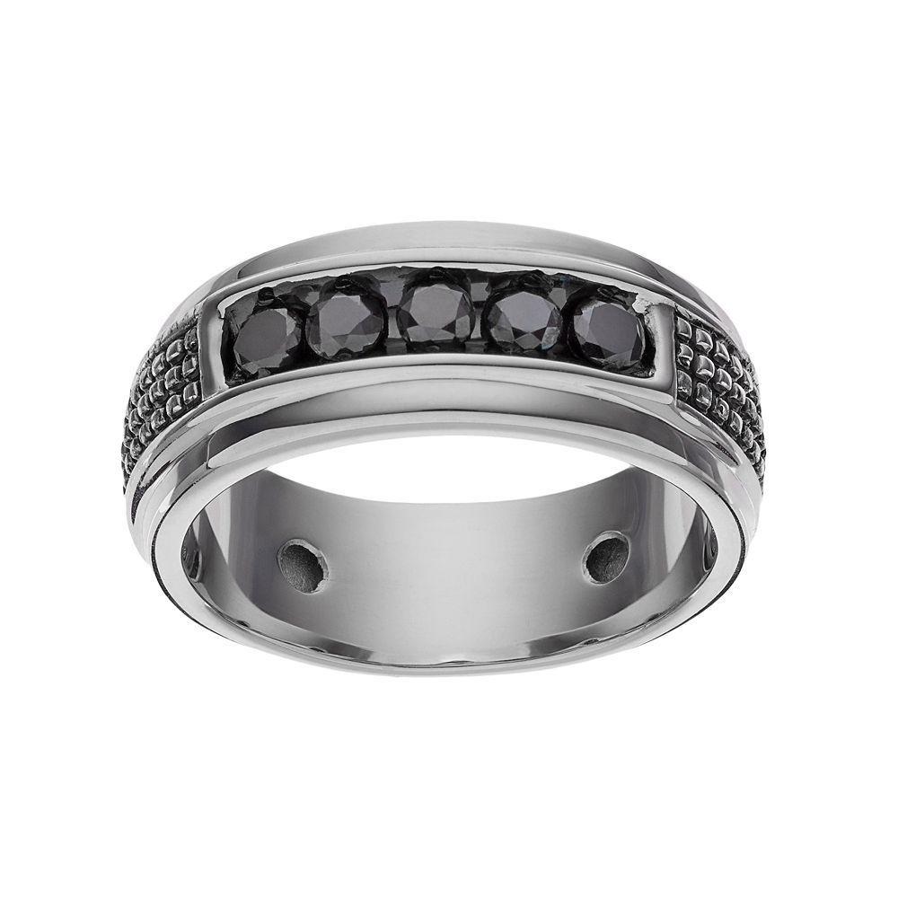 1966ca7c7 1/2 Carat T.W. Black Diamond Sterling Silver Textured Ring - Men, Size: 10