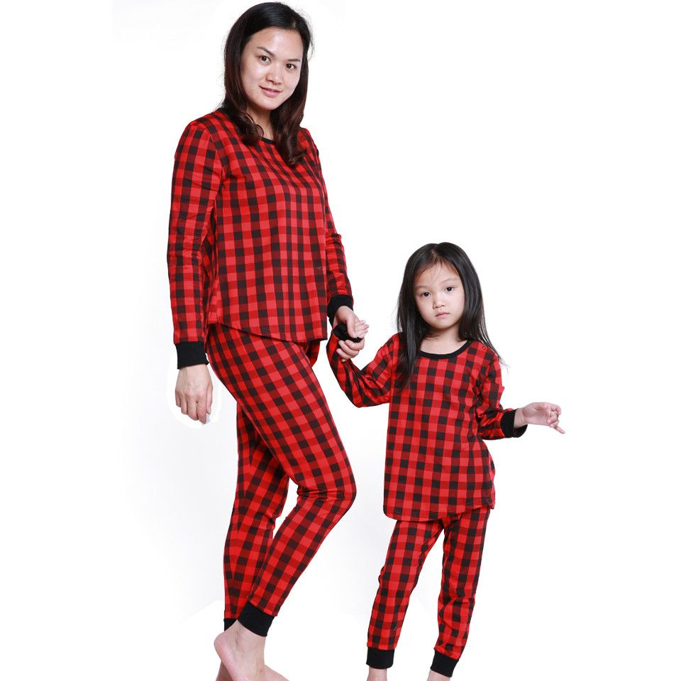 abee854ee92e COSPOT Mom and Daughter Plaid Pajamas Set Mather and Girl Winter ...