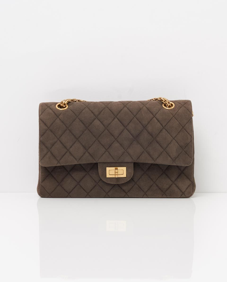 151d9b296c45 vintage chanel grey suede 2-55 reissue classic flap bag front