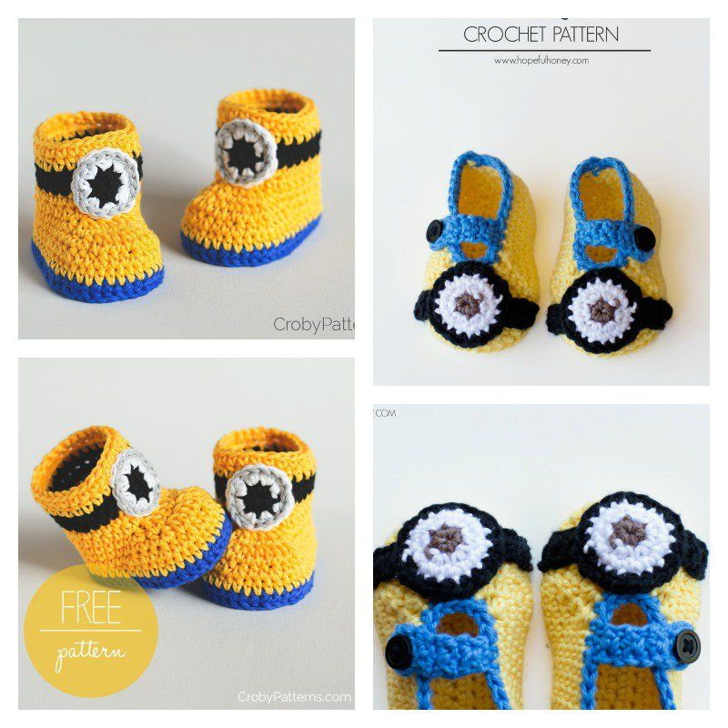 Minion Crochet Booties with Free Pattern | crochet | Pinterest