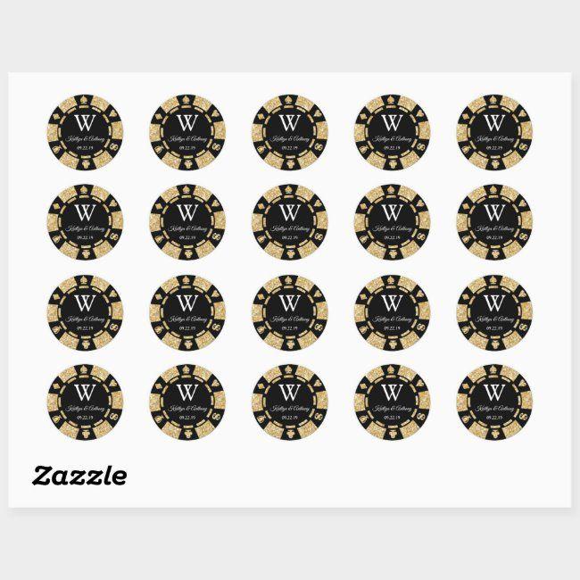 Gold Glitter Poker Chip Casino Wedding Party Favor Classic Round Sticker , #Ad, #Wedding#Casino#Favor#Party