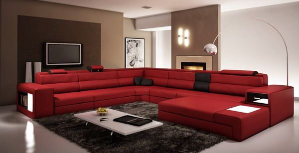 Living Room Red Couch With Accent Sand Wall Italian Leather Sectional Sofa In Dark Red Red Couch Living Room Couches Living Room Living Room Sofa