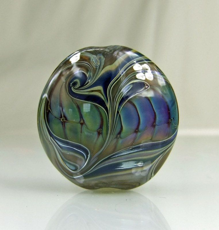 Taupe,Blue,Pink,Metallic Glass Lampwork Lentil Focal Bead