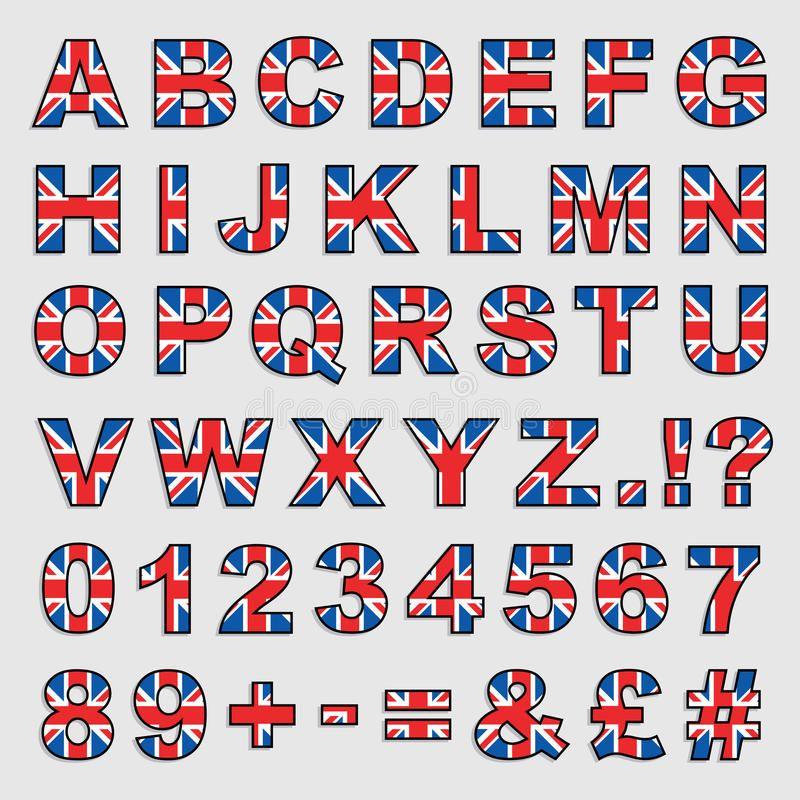 Alfabeto De Gran Bretaña Ilustración Del Vector Bandera De Londres Abecedario Lettering Letras Bonitas Y Faciles