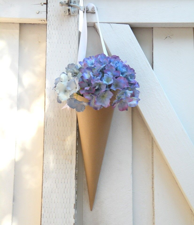 Simple Church Wedding Decorations: Simple Kraft Paper Wedding Cones With Custom Ribbon