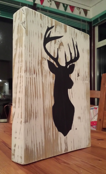 Rustic stag head plaque / wall hanging #stag #staghead #wooden