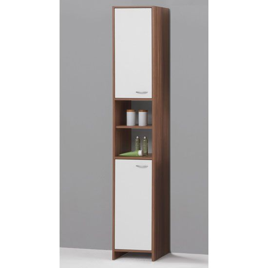 tall bathroom cupboard in plumtree and white with 2 door buy bathroom cabinets furnitureinfashion uk - Tall Bathroom Cabinets Uk