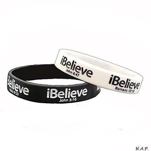 Ibelieve Debossed Scripture Verses Wristband Black White Silicone Rubber Bracelets Sports Wear Motivational Inspirational Religious Sayings