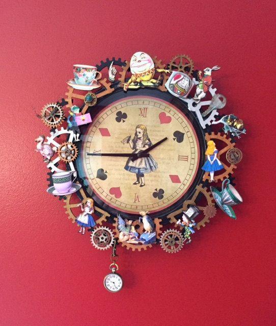 Verzierte Uhr, Wanduhr, Upcycled, zweckentfremdet, Steampunk, aus - wanduhren für die küche
