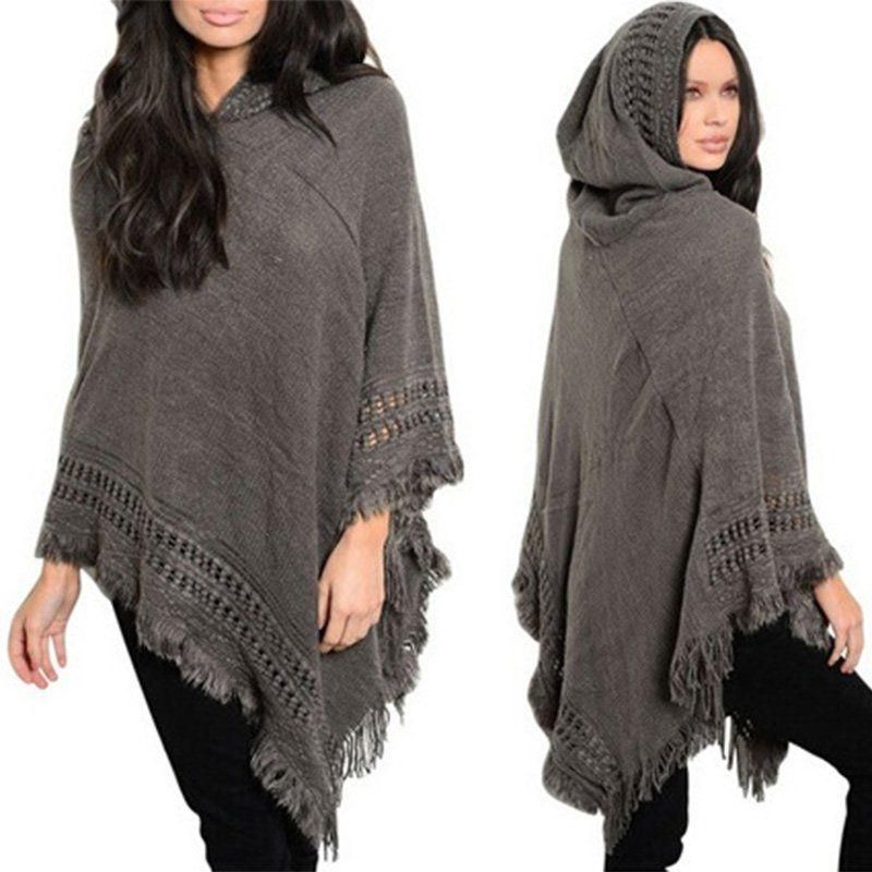 Women Lady Tassel Cloak Hood Warm Sweater Knit Top Poncho Cape Coat Outwear New