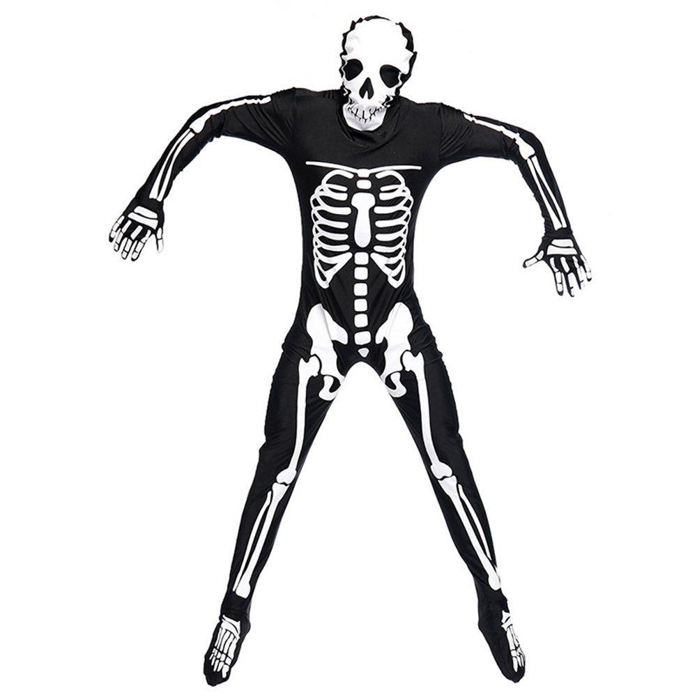 Adults Men Skull Skeletons Ghosts Wear Jumpsuits Bodysuits Halloween Carnival
