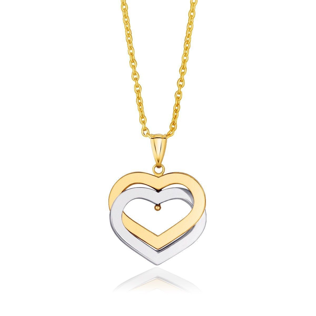 Two hearts become one in this expertly crafted drop pendant. A center headpin allows the 14K white gold heart to gently move in its embrace with the 14K yellow gold heart above. Featuring movement and