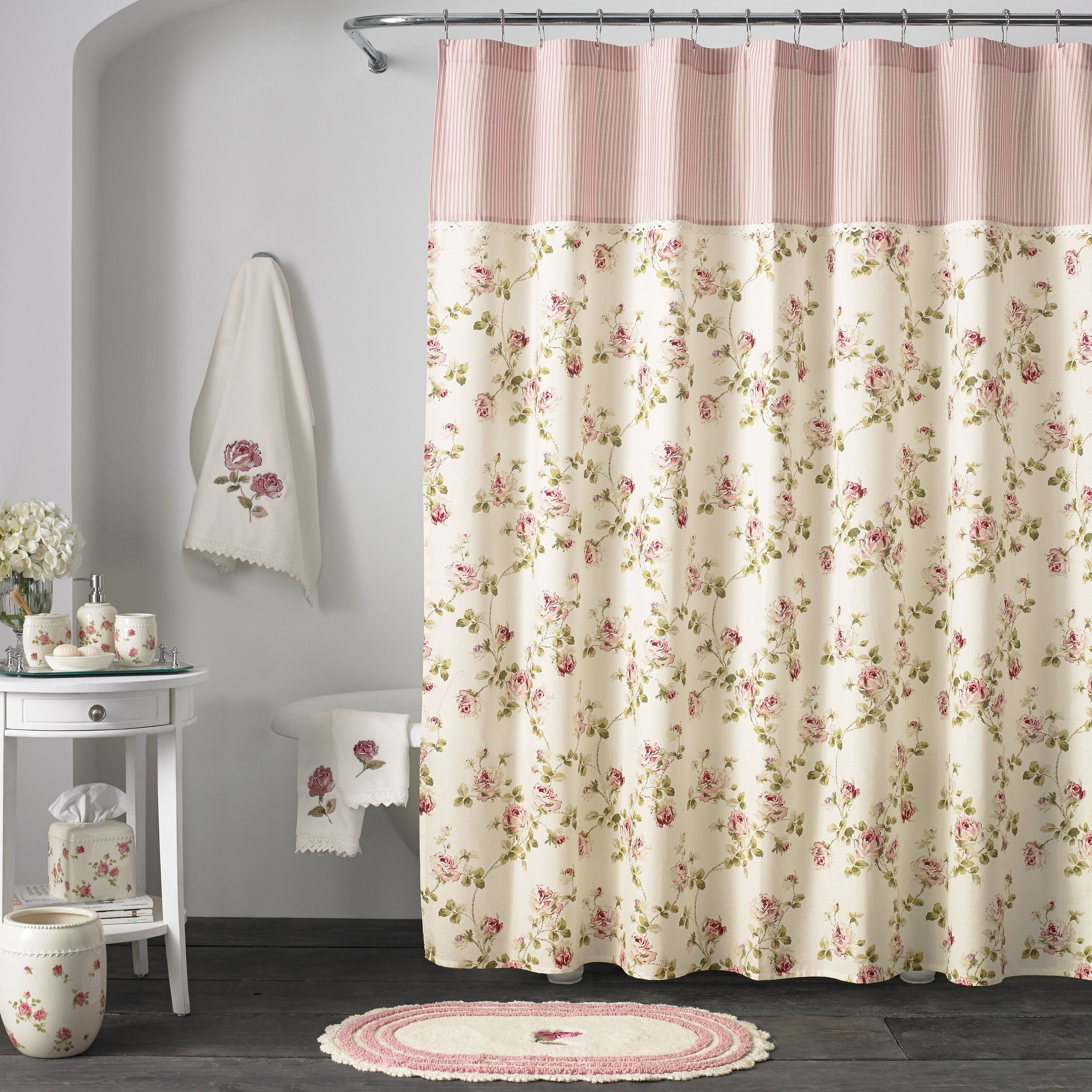 Five Queens Court Rosalind Floral Chic Shower Curtains Pink 70