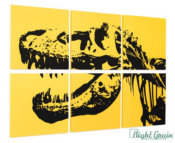 Dinosaur Wall Art - Large Trex Screenprint perfect for Playroom ...