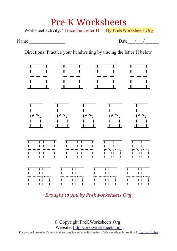 Printable Worksheets letter h worksheets for kindergarten : Pre-K Tracing Worksheet H | School | Pinterest | Tracing ...
