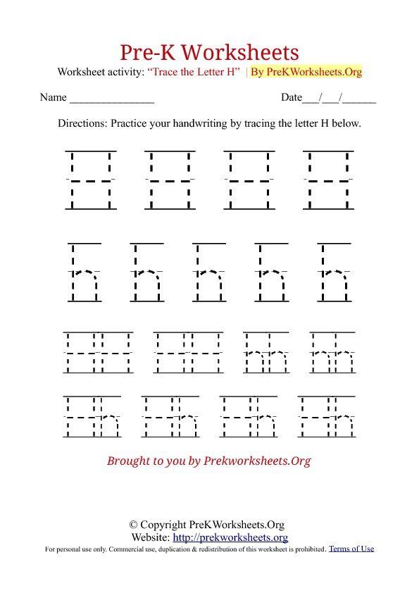 Pre K Tracing Worksheet H Alphabet Worksheets Preschool