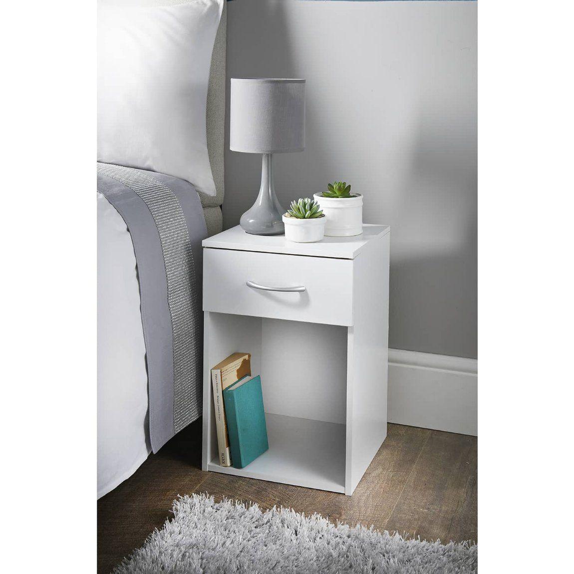 Lokken 1 Drawer Bedside Table White In 2020 Cheap Bedside Tables White Bedside Table Cheap Nightstand