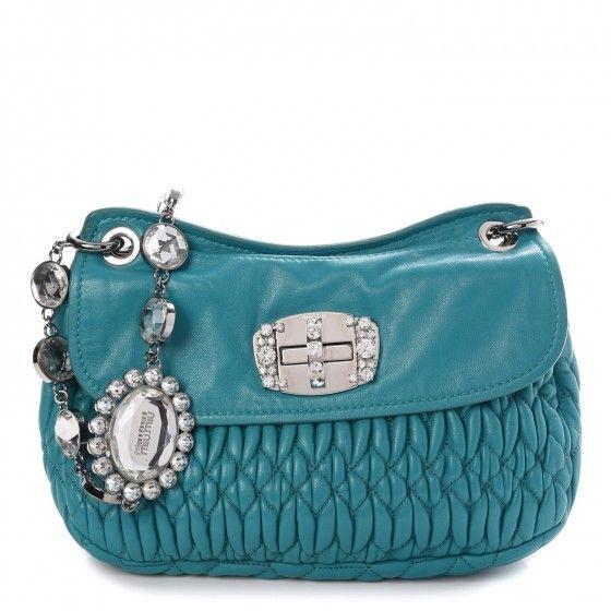 00a9e9109220 MIU MIU Nappa Matelasse Crystal Flap Bag Turchese | in ♥ | Bags Miu ...
