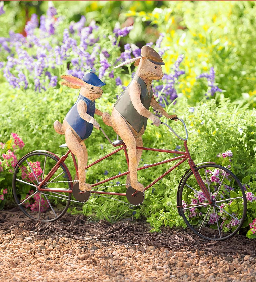 Bike Riding Bunnies Garden Decor | Decorative Garden Accents | When ...