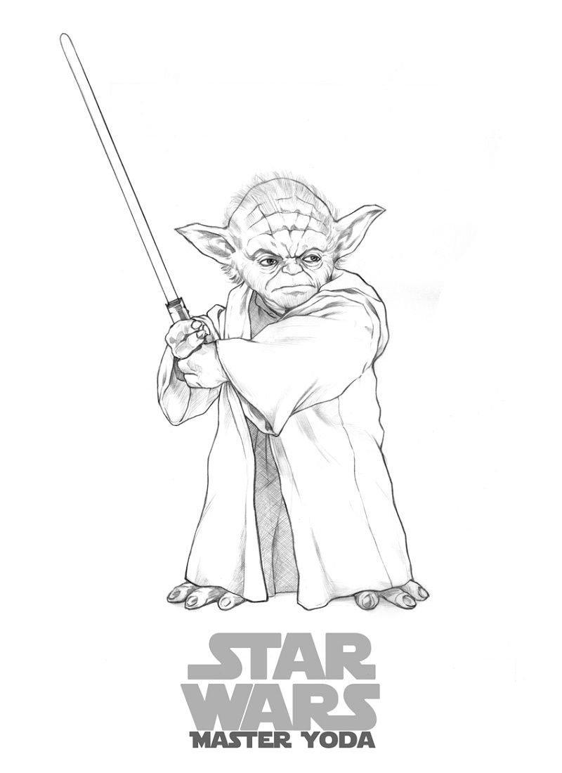 Master Yoda Coloring Pages Star Wars Drawings Yoda Drawing
