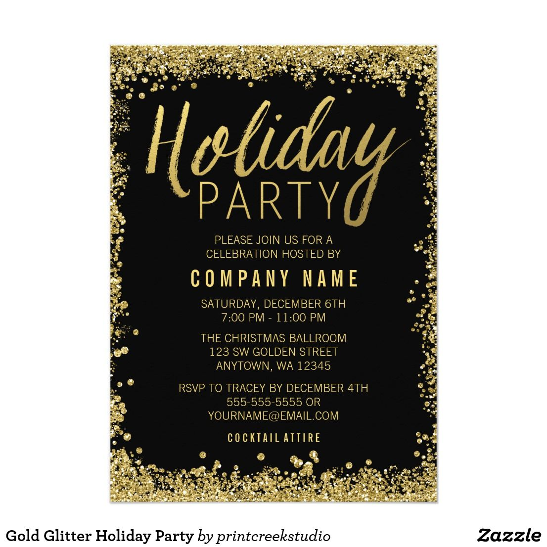 Gold Glitter Holiday Party Invitation Zazzle Com 21st Birthday