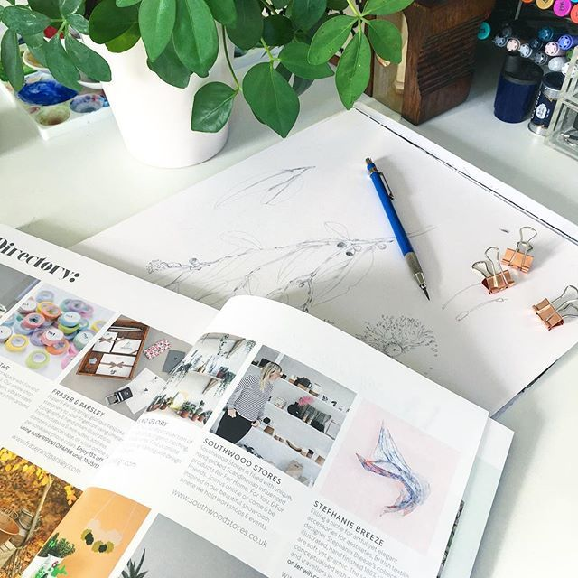 I spy... @stephaniebreeze featured in @91magazine! Exclusive reader offer ... order your copy to get the code☺️🌳🏡 #home #homewares #prints #scarves #gifts #interior #interiordesign #shopindie #91magazine #desk #studio #sketch #illustration #pencils #giftwares #love #beautiful #friday #fridayfun #reading #magazine #uk #indiechristmas #ilovemyjob #botanical