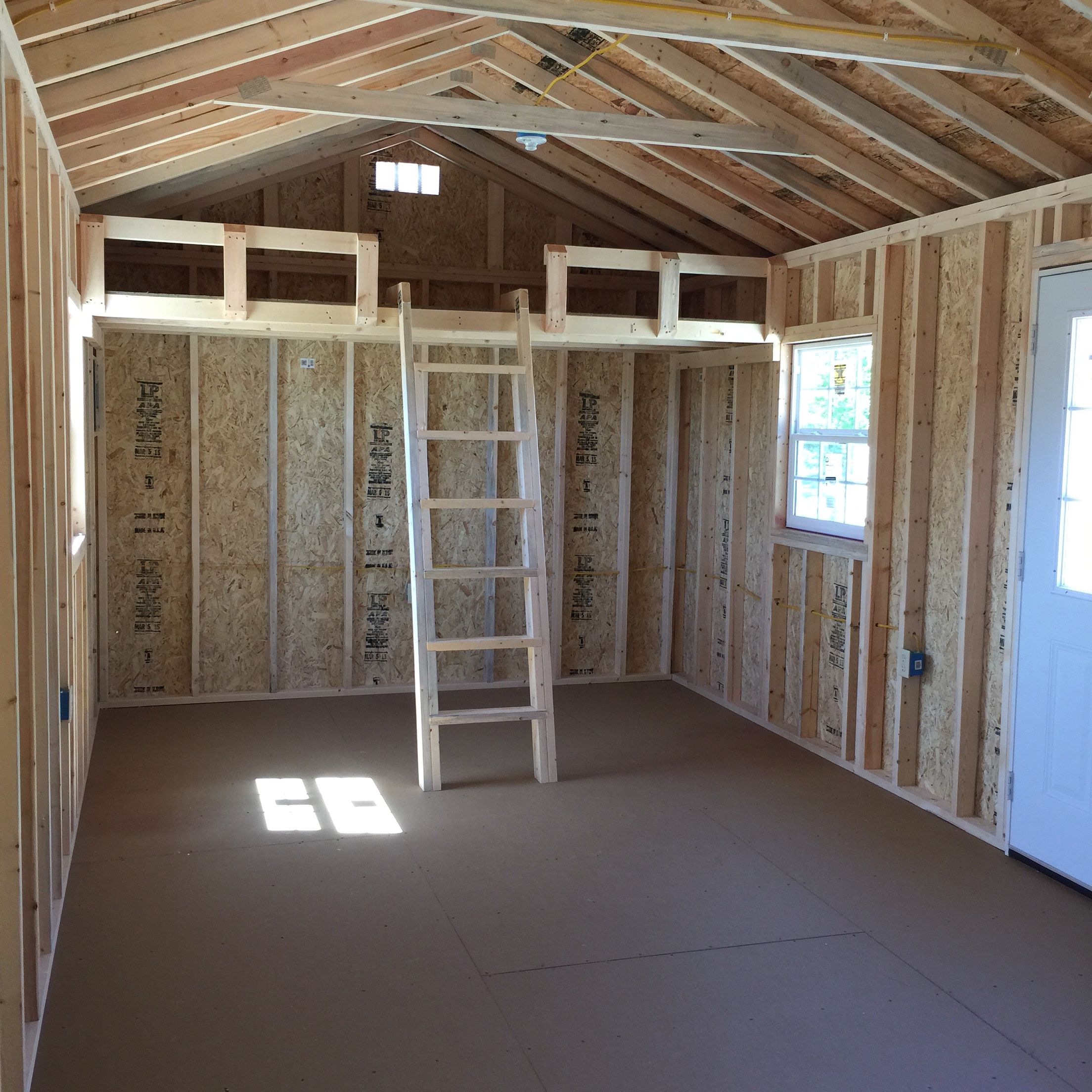 12x24 Cabin Just Completed Ready For Delivery This Cabin Had These Great Features Installed 36 9 Lite Entr Shed With Loft Shed Homes Guest House Shed