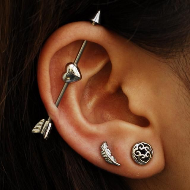 Cool Ear Piercing Ideas Barbell Heart Arrow Scaffold Bar Double Leaf Earring Lobe Studs Mybodiart