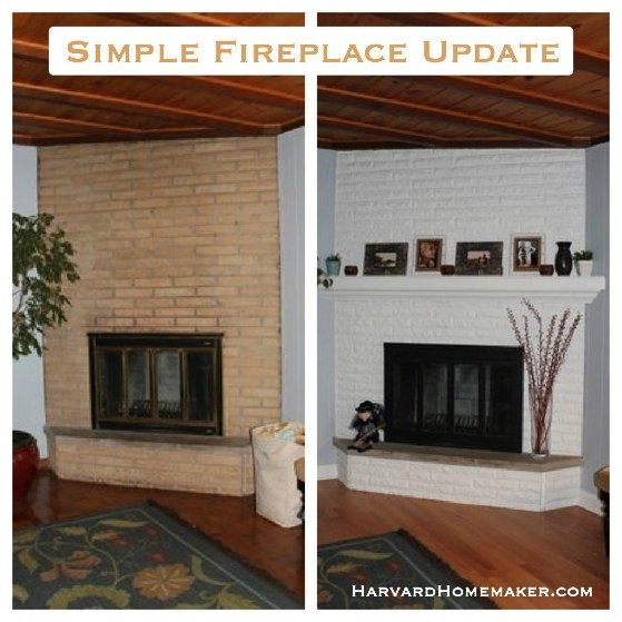 Simple Fireplace Update. Just paint the brick, add the mantle, and ...