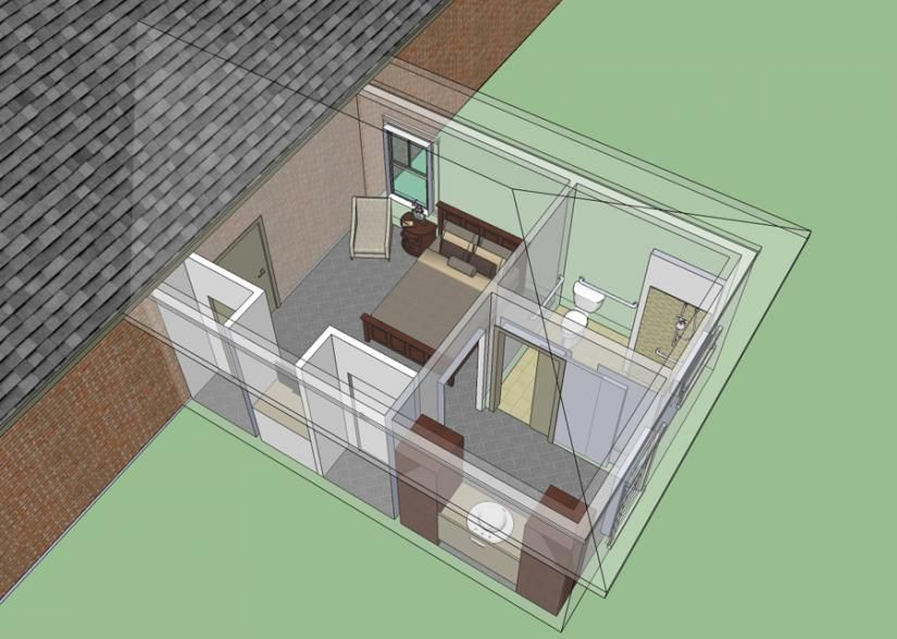 653681 wheelchair accessible mother in law bedroom for Bungalow house plans with inlaw suite
