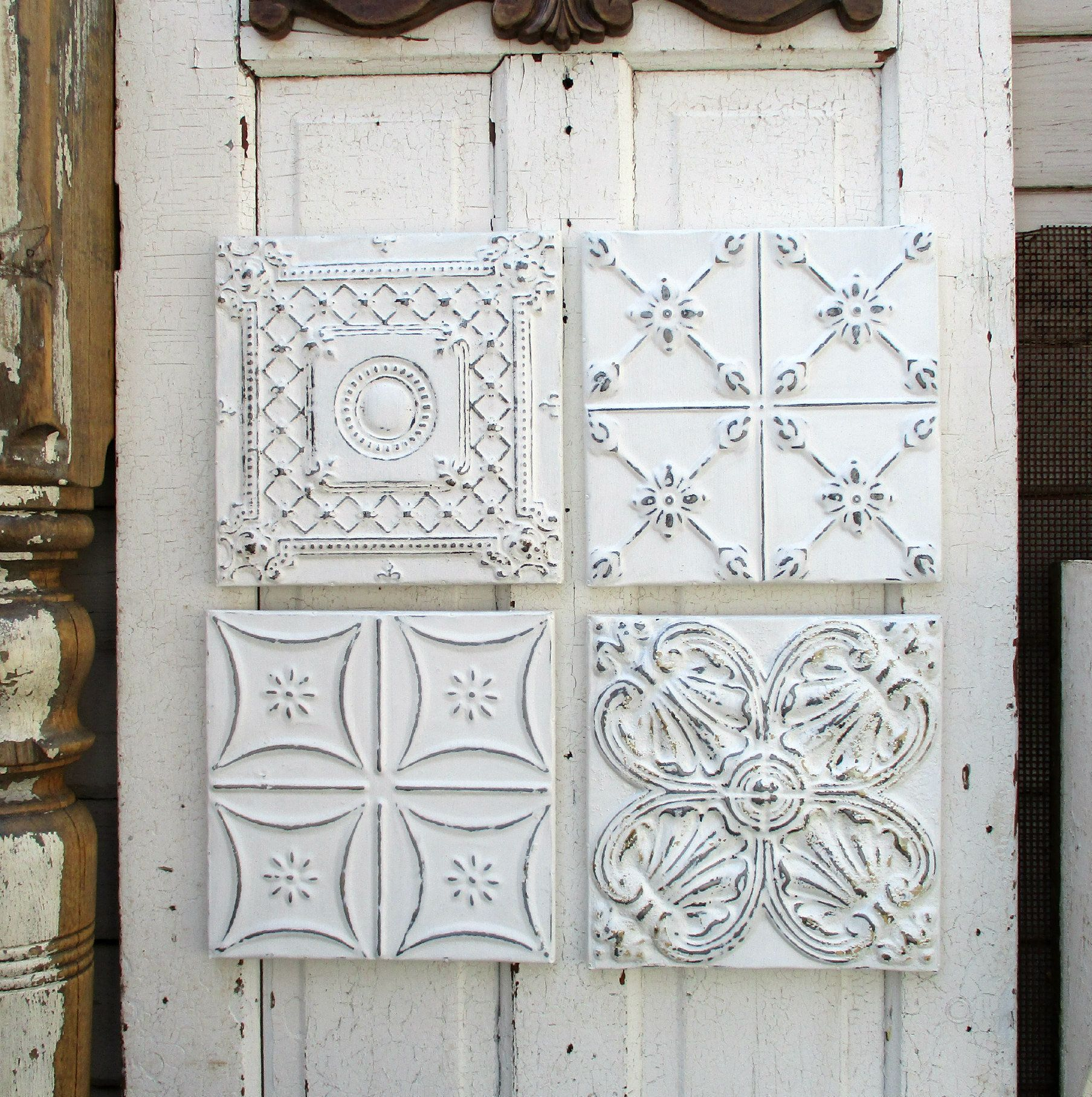 tin ceiling tiles set of 4 framed and