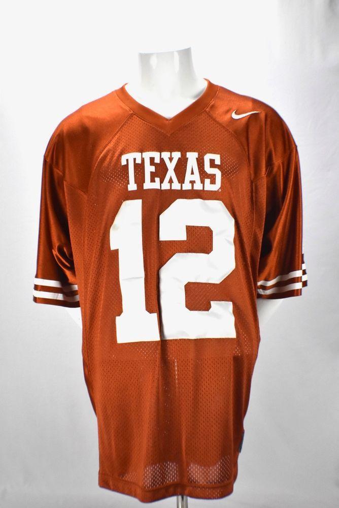8ff749ea1 Nike Team Mens Texas Longhorns Football Orange Jersey  12 Stitched XL  Nike   TexasLonghorns