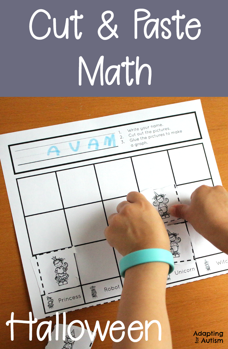Worksheets  Halloween Cut and Paste Math Worksheets for Special Education